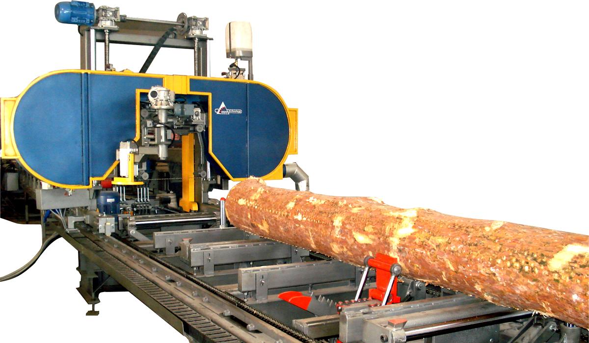 Производительность лесопильного цеха  от 30 м. куб. бревен в смену  Горизонтальные ленточнопильные станки VESTO с шириной пильной ленты 32-40 мм